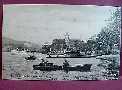 Old Postcard Lakeside Station Windermere Boats Steam Yacht Valentine's Series