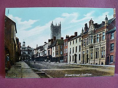 Old Postcard Broad Street Ludlow UK