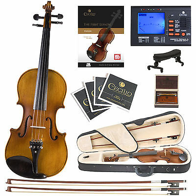 Cecilio CVN-500 Ebony Highly Flamed Violin ~4/4 to 1/4 +Book/Audio/Video+Tuner