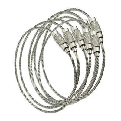 "5 pcs Stainless Steel Wire Cable with Screw Clasp  Key Rings choose 4"" 6"" 8"" 10"""