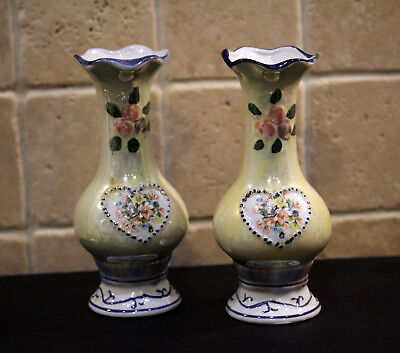 Pair of Vintage Collectible Beautiful Japanese Oriental Vases
