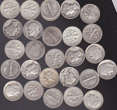 26 Silver Dimes  Roosevelt, Mercury   Free Shipping