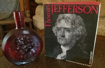 Thomas Jefferson Wheaton Decanter Bottle in Box Ruby Red