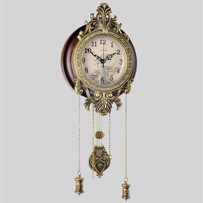 Retro Wall Clock Antique European Mute Hanging Watch Quartz Digital Home Decor