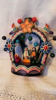 Mexican Polychrome clay candle holder Nativity Scene