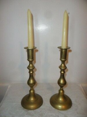 """Vintage Pair Of Solid Brass Candlestick Holders - 9.25"""" Tall"""
