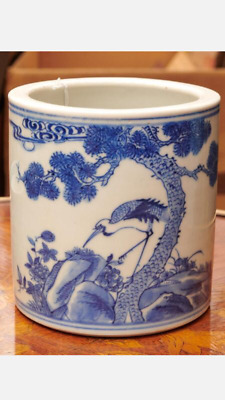 A Chinese Antique Blue and White Porcelain Brush Pot