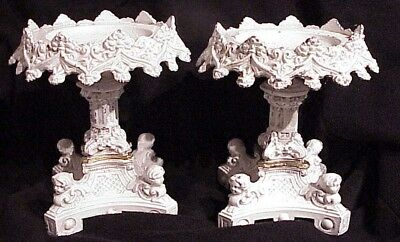 Matched Pair (2) Antique Shabby White Pedestal Cast Iron Urn Side Pieces