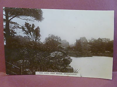 Old Postcard Real Photo UK Staplehurst Kent The Lake Iden Manor RPPC