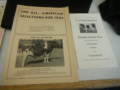 Vintage HOLSTEIN FRIESIAN BULL COW All American Selections for 1946 Sires & Dams