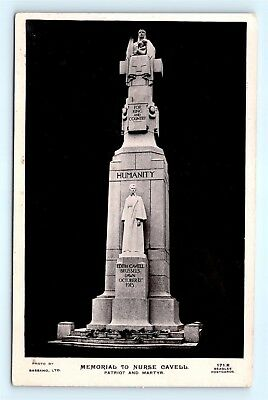 Postcard UK London Memorial to Nurse Cavell Patriot Martyr RPPC Real Photo K11