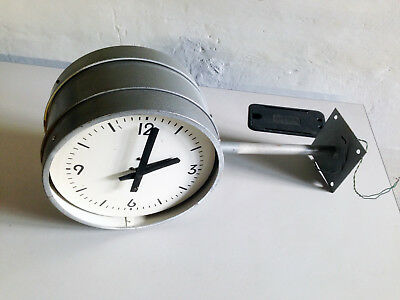 "Double sided 11"" industrial slave wall clock - for restoration"