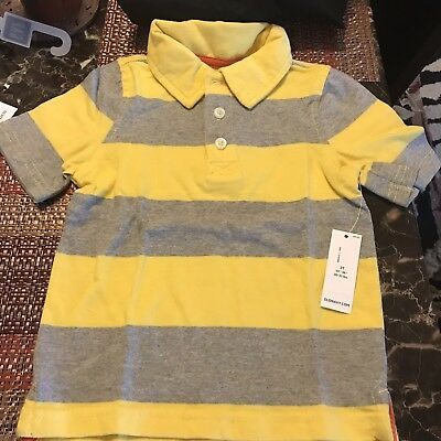 Old Navy 2T Boys Girls Unisex Yellow Gray Striped Collared Polo Rugby Shirt Top!
