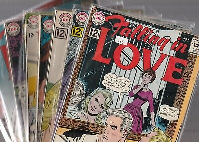 DC Romance lot, Falling in Love 50,53,55,58,60,61,66,and 70 VGF