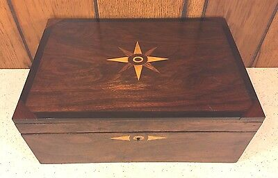 Antique Wood Lap  Desk Star Inlay on Top & Inlay on Sides & Front Brass Lock