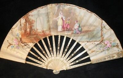 Beautiful Hand Painted Carved & Gilt  Victorian 19c Fan Eventail Facher Baptism