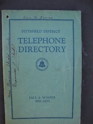 Vintage PITTSFIELD, MASSACHUSETTS Telephone Directory Book 1931-32 Bell System