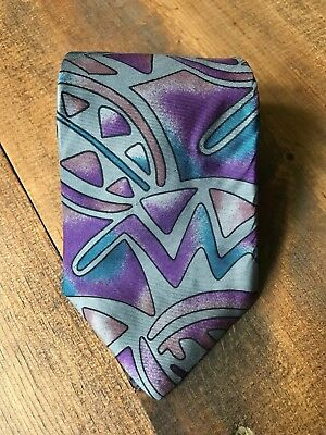 G. Galvani Mens Necktie-Tie-Fashion Accessory-Retro-Gray-Blue-Green-Purple-Stain