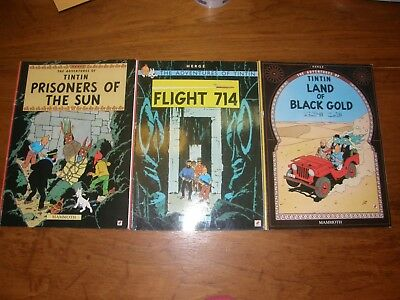 Lot Of 3 The Adventures Of Tintin By Herge
