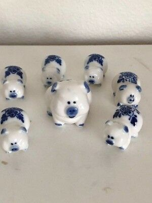 Vintage Family Of 7 Pig Figurines - Mama & 6 Miniature Piglets  Blue & White