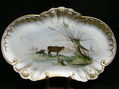 Antique WG & Co Limoges France Hand Painted  Landscape Cows Artist Signed Tray