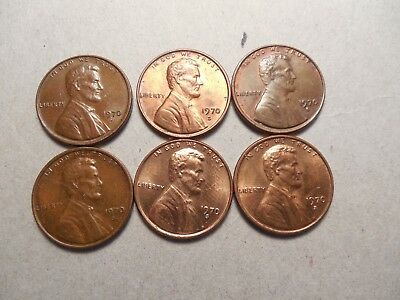 1970 S Small Date Lincoln Cent Penny - LOT OF (6) REVIEW PICTURES