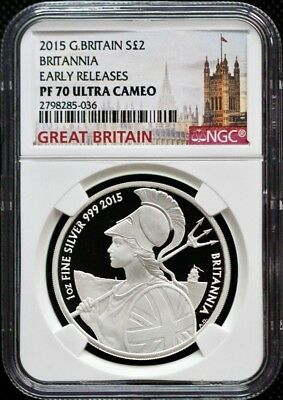 2015 Great Britain £2 Pound 1Oz Silver Proof Britannia NGC PF70 Early Releases