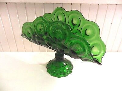 Large Green  Moon And Star Banana Boat L. E. Smith Glass Vintage Pedestal