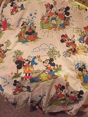 Vintage Mickey Mouse Chores Twin Fitted Sheet - Montgomery Ward