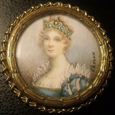 Portrait Box 19th C French Royal HP Round Ormolu Repousse Signed