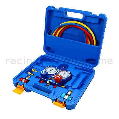 3-Way Manifold Vacuum Gauge A/C AC HVAC Refrigeration Kit For R134a R410a R22