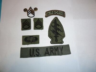 US ARMY 7x PATCHES SPECIAL FORCES SSG SERGEANT UNIFORM BDU VIETNAM Abzeichen d4z