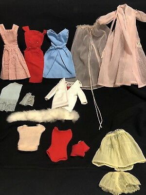 Vintage Lot Of Barbie Doll Clothes Nighty Dresses Jacket Sweater Fur Collar