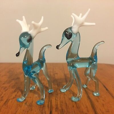 Vtg Hand Blown Glass Art Lot Christmas Aqua Reindeer Buck w/ Antlers