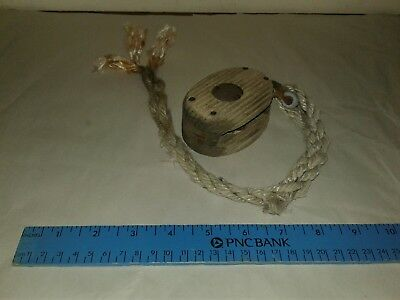Vintage nautical Small copper + WOOD PULLEY with interwoven line