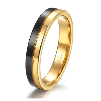4mm Gold Plated Two Tone Tungsten Band Ring Engagement Business Women Men gift