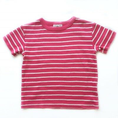 Hanna Andersson Girl 90 3T Tee Shirt Short Sleeve Pink Striped Organic Cotton