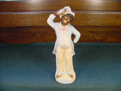 Circa 1890 German Bisque Black Americana Tambourine Player Musician Figurine