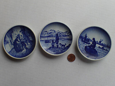 RARE Lot 3  Royal Copenhagen Fajance Mini Plates Blue Vintage  Ornaments Denmark