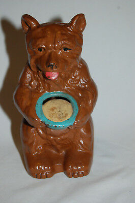 "Cast Iron ""bear With Honey Pot"" Still Bank Made By Hubley"