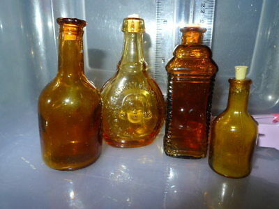 Vintage Miniature Bottles 4 Brown with corks Jenny Lind etc - Taiwan 1960s