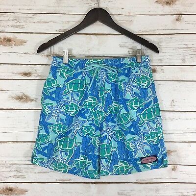 Boy's Vineyard Vines Medium(12/14) Turtles & Starfish Chappy Swim Trunks Multi