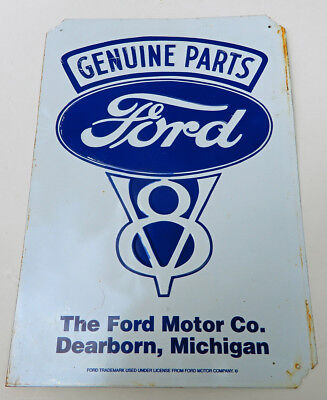"Ford Motor Company V8 Tin Sign Genuine Parts Embossed Blue White 12"" x 17"""