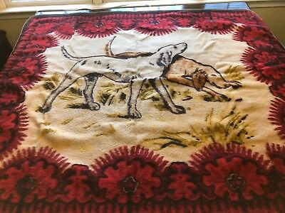 Antique Heavy Horse Hair Buggy Lap Blanket Dogs Playing 54x48