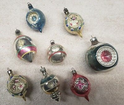 Antique lot of 8 Mercury Glass Two Sided Indent Christmas Tree Ornaments USA