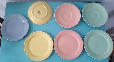 "Art pottery Lu-ray Pastels Mid Century Modern Lot of 7 Plates 6"" Pink, Blue..."