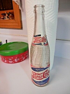 """NICE FIND! Collectible Vintage """"PEPSI COLA"""" Clear Soda Bottle w/Paper Label-NR"""