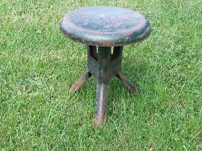 "Vintage  3  Legged  Painted  Steel  Milk  Stool  11 3/4""  Tall  9 3/4""  Diameter"