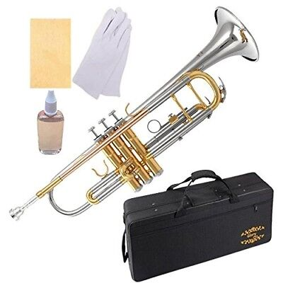 (Double-braced) - Glory Brass Bb Trumpet with Pro Case +Care Kit,Nickel Plated