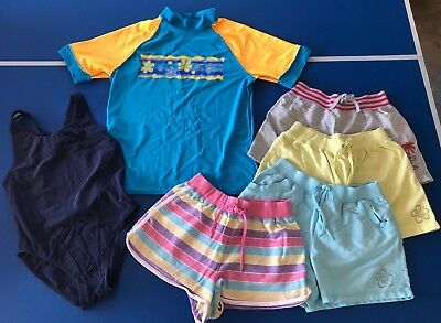 Girls Mixed Clothing - 4 x Shorts, Togs/Swimmers & Rashie - Size 14 (6 items)